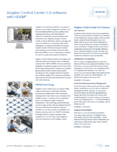 Avigilon Control Center 5.0 Datasheet