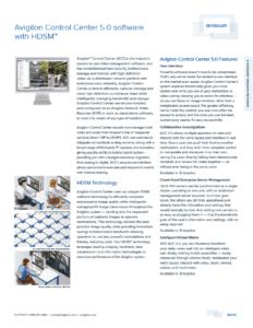Avigilon Control Center 5.0 Datasheet