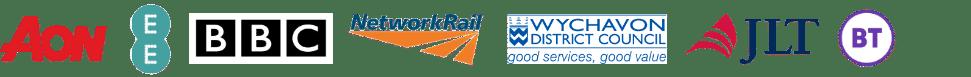 Ecl-ips client logos. AON, EE, BBC, Network Rail, Wychavon Council, JLT, BT