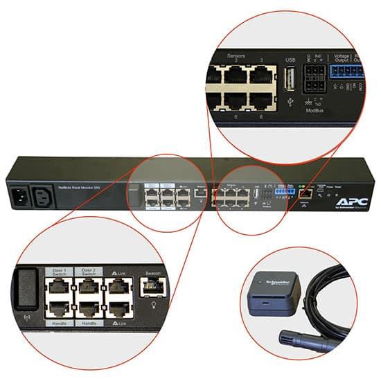 Close up of the NetBotz 250 ports