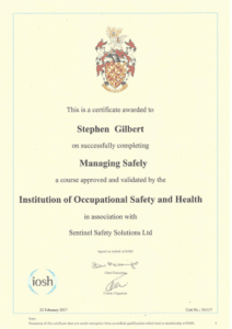Stephen Gilbert Managing Safely Certifcate