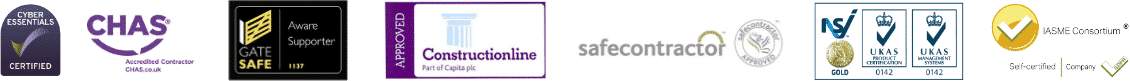 Affiliate logos: CHAS, Gate Safe, Construction Line, Safe Contractor, UKAS