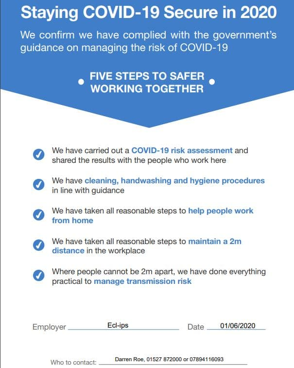 Covid Secure Notice