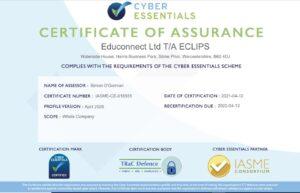 Cyber Essentials Cert April 2021
